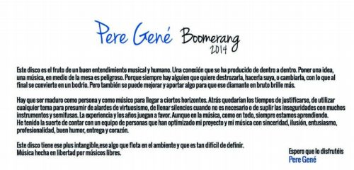 Presentación de Boomerang por Pere Gené