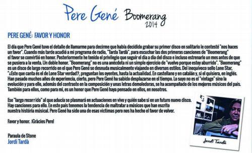 Presentación de Boomerang por Jordi Tardá