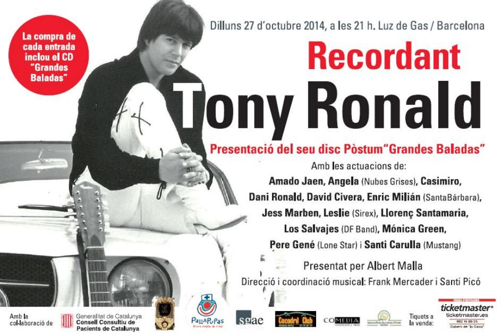 Cartel concierto homenaje a Tony Ronald